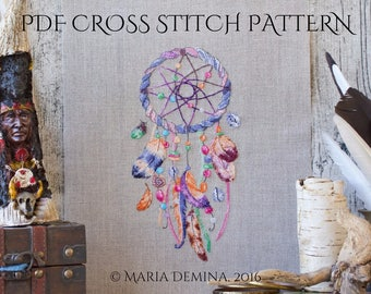 Watercolor Dream Catcher PDF cross stitch pattern / instant download; pattern finish picture available