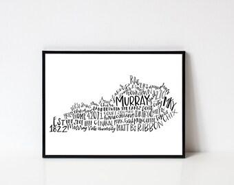Hand lettered MURRAY Kentucky Word Art Print // 8x10