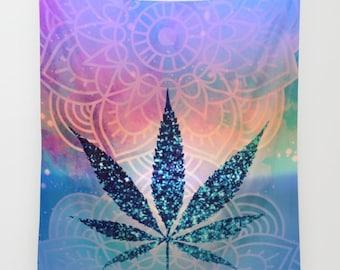 Pot Leaf Wall Tapestry Rainbow Tye Dye Blue Yoga Meditation Mandala Wall Hanging