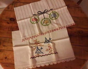 Hand Embroidered Linen Tea Towel, 1950's, Mid Century