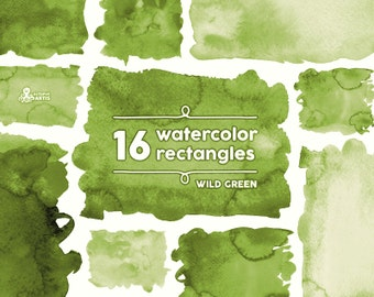 Wild Green Watercolor Rectangles Clipart: 16 Digital files. Paint, brush strokes, splodge, dark green, abstract, background, splash, itw