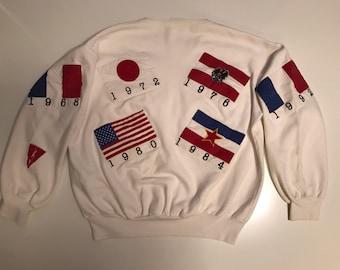 Vintage Olympic Flag Crew Neck Sweatshirt USA Canada Japan Russia Spain