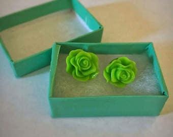 Lime Green Rose Earrings