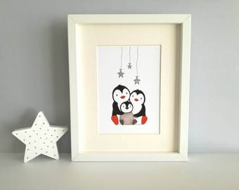 Wish upon a star, unframed penguin print, nursery or playroom silver stars picture, penguin family illustration, new baby, silver glitter