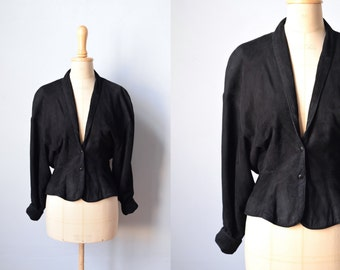 1980s suede leather bomber jacket / size small / fitted cropped suede leather jacket / padded raglan shoulders