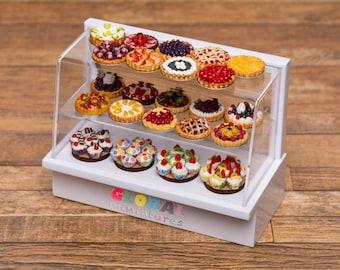 Dollhouse Miniatures Assortments of Fruit Tart and Cupcake on Bakery Shelf