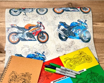 "Dirty Sports Bike Motorcycle Wrapping Paper | A2 - 16.5 x 23.4in"" / 42cm x 59cm 