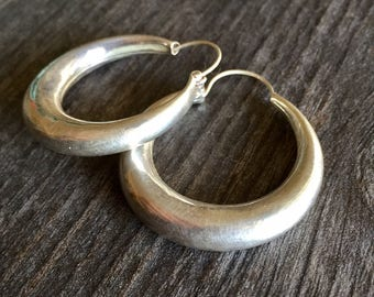 Big silver hoops, simple sterling silver hoops, modern sterling silver hoops, boho sterling hoops