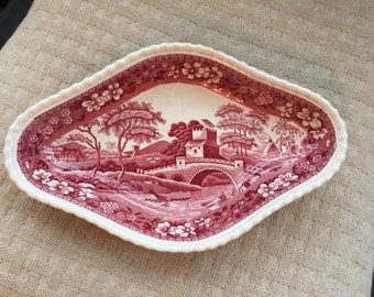 Copeland Spode Tower red transferware pickle dish