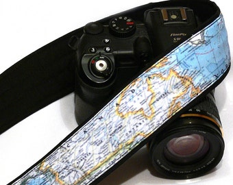 Map Camera Strap. SLR, DSLR Camera Strap. Gift For Photographer. Canada, Russia