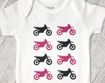 Dirtbike Baby Clothes - You Pick Color Scheme