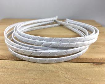 White Satin Wrapped Metal Headband, White 5mm headband, white headband, White 5mm metal headband, DIY Hard Headband