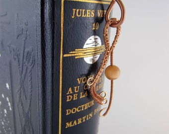 Copper wire bookmarker - Wire wrapping - Swarovski beads