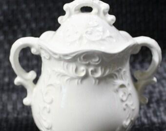 Napcoware Import-Japan White Sugar Bowl