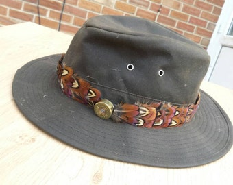 Pheasant feather hat band , trilby , real feathers