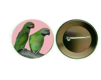 Moustached/ Mustached Parakeet 55mm Button Pin Badge (PG-0828)