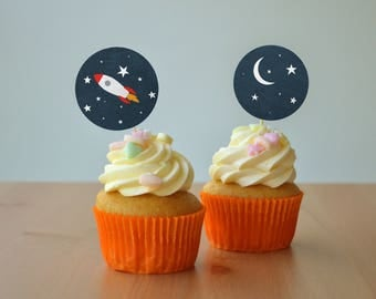 Printable Cupcake Toppers, Gift Tags - Space and Rockets, Digital Download, Children's Party