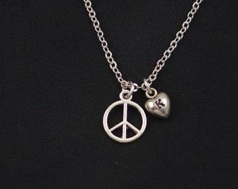peace sign necklace, initial necklace, long necklace option, silver peace sign charm, peace symbol jewelry, peace necklace, gift for her