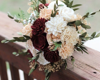 Sola Bouquet, wedding bouquet, bridal bouquet, Marsala blush bouquet, maroon peach bouquet, sola flowers, country rustic woodland wedding