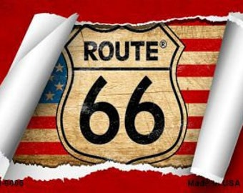 Route 66 US Flag Scroll Magnet
