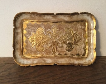 Vintage Gold FLORENTINE Tray    Small Wooden Florentine Tray  Vanity Tray