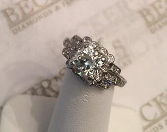 Superb Antique Art Deco Platinum engagement ring Center Old Mine Cushion Cut Diamond 1.70 ct 26 Old Round Diamonds .19 tw JK-VS2-SI1 sz 8.5