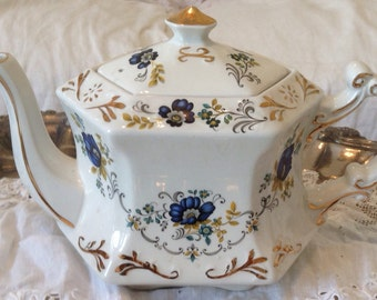 Vintage IRONSTONE TEAPOT Blue and White Floral Wood & Sons England Shabby Prairie English Country Cottage Chic