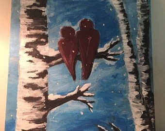 Red Cardinals on Birch Tree Winter Scene