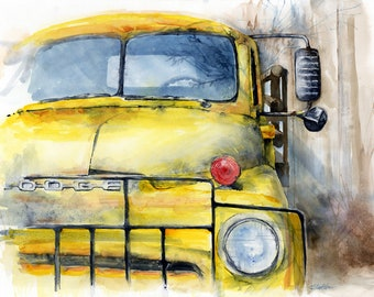 Days Gone By, Giclee print, old dodge flatbed truck, vintage watercolor print