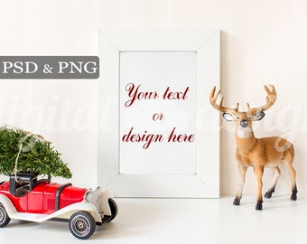Red Vintage Car Styled Stock Photography Christmas Tree Deer Vertical Mockup Download Frame Empty  Product Digital Background Photo