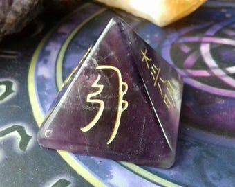 Energy Charged Purple Amethyst Crystal Reiki Symbol Pyramid - Crystal Healing, Reiki Healing, Spirituality, Psychic Protection, Crown Chakra