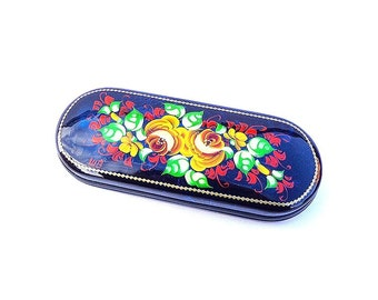 Red green yellow russian floral eyeglass case, metal had-painted glasses case hard
