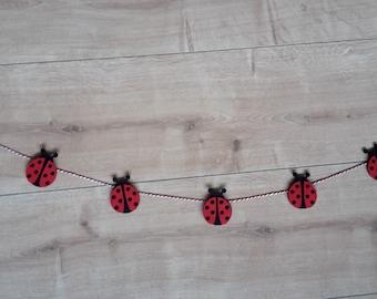 Felt Ladybug Bunting Garland Decor, Felt Ladybird Bunting Garland Decor, Ladybug Nursery Decor, Ladybird Nursery Decor, Ladybugs, Ladybirds