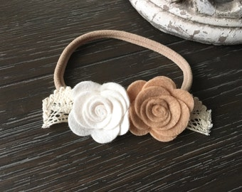 Ivory & Tan Wool Felt Flower Lace Crown Headband Hair Bow or clip Newborn / Baby / Toddler / Girls / Portraits / Photoshoot Cream Headband