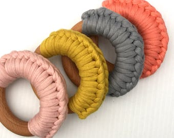 Crochet Wooden Teether Ring