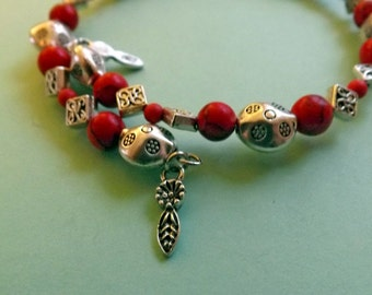 Red Celtic Coral and Turquoise Bracelet