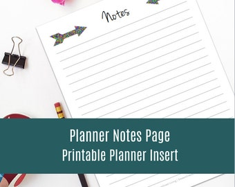 Planner Notes Page - Organizing Printable - Instant Download!