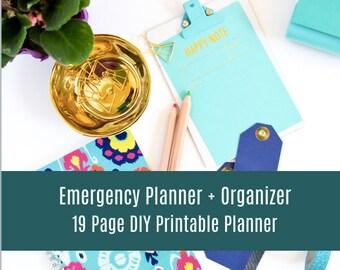 Emergency Planner & Organizer - Organizing Printable, Home Management Binder, Planner Pages, Planner Inserts