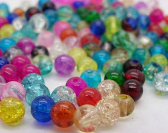 100 cracked glass beads Crystal 8 mm mixed