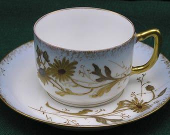 Antique Limoges Demitasse Cup & Saucer - AK CD Klingenberg Dwenger - Art Nouveau