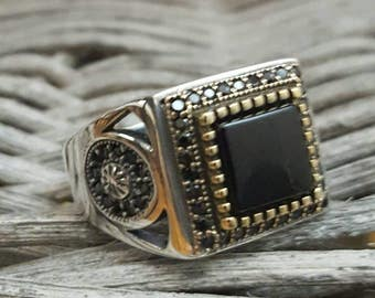 Sterling Silver Men Ring With Onyx Stone