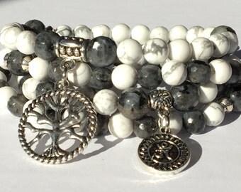 Mala 108 Howlite Zen,Labradorite Necklace,Mala Meditation,Yoga Gift Mala,Tree of life Mala,Protection Japa Mala,108 Gemstone Gift,Buddhist