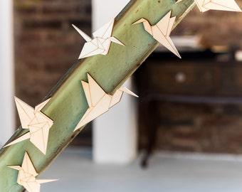 Origami cranes - wooden wall decals - SET