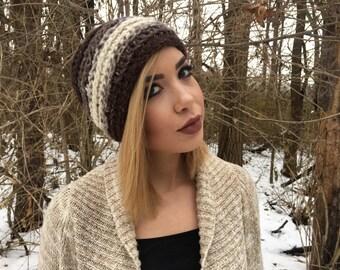 Neutral Toned Crochet Hat, Crochet Beanie, Chunky Crochet Hat