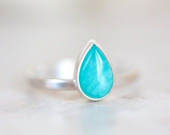 Amazonite Ring, Amazonite Pear Shaped Ring, Blue Gemstone Silver Ring