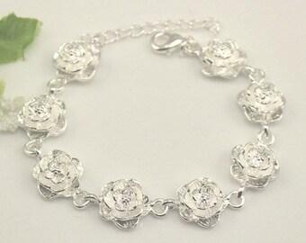 Sterling silver 8 roses bracelet