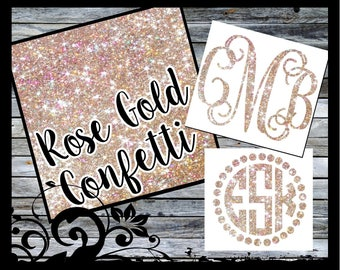 """3"""" tall Monogram Decal - Rose Gold Confetti Printed Pattern. Monogram Decal, Car Decal, Vinyl Decal, Yeti Decal, Laptop, iPhone, Laptop"""