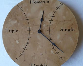 Baseball Wall Clock - Hand Painted Baseball Graphics on Wood - AA Battery