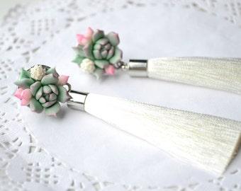 Succulent earrings. White wedding bridal brides succulent tassel earrings jewelry. Bridesmaid tassel succulent earrings. Statement earrings