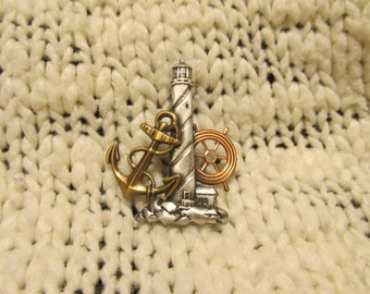 Multi colored Nautical Light House Brooch